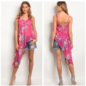 Tops - 5 for $100 Pink Floral High Low Top